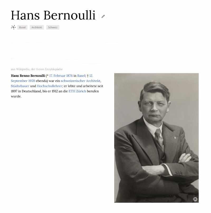 Bildschirmfoto: Hans Bernoulli, Architekt auf der Website Wikiwand