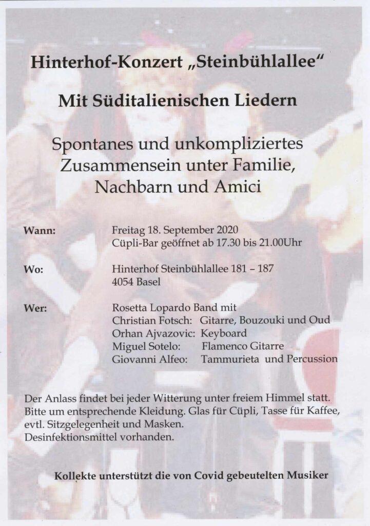 Bild: Hinterhof-Konzert «Steinbühlallee» Freitag, 18. September 2020